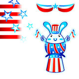 Election rabbit. USA election rabbit with flying stars and stripes Royalty Free Stock Photo