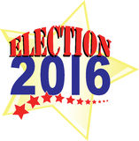 2016 Election. Election 2016 in red, white and blue with stars and stripes for election year stock illustration