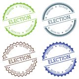Election Register to Vote badge isolated on white. Election Register to Vote badge isolated on white background. Flat style round label with text. Circular Royalty Free Stock Image