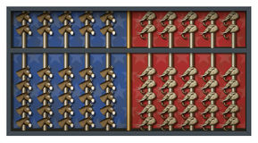 Election Results Abacus. An abacus with elephant and donkey heads to count Republican and Democrat votes Stock Photo
