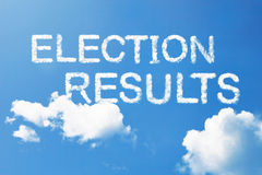 Election results cloud word on sky. Royalty Free Stock Photography