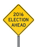 Election 2016 Roadsign. Vector illustration of American yellow warning roadsign about the presidential election of 2016 Stock Images