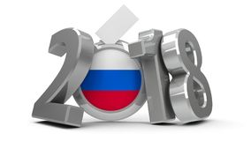 Election Russia 2018 #2. Figures 2018 with russian flag badge isolated on white background, represents Presidential Election 2017 in Russia, three-dimensional stock illustration