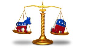 Election Scales of Justice on White 4K Loop. Features a golden scale of justice with a republican elephant symbol in one pan and a democratic donkey symbol in stock video