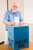 Election - Senior Man Casting Ballot Stock Photo