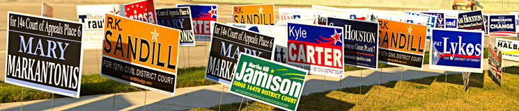 Election Signs for Early voting in Houston, Texas Royalty Free Stock Photos