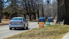 Election signs of NDP PEI and Green Party PEI for the provincial election 2019 in Prince Edward Island stock photos