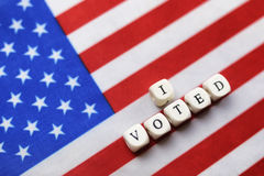 Election simbol on usa flag Royalty Free Stock Image