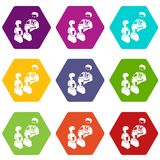 Election speak conference icons set 9 vector. Election speak conference icons 9 set coloful isolated on white for web royalty free illustration