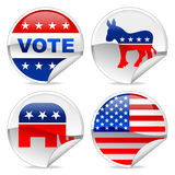 Election stickers. American Election stickers with light shadow stock illustration