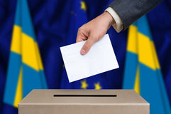 Election in Sweden - voting at the ballot box Royalty Free Stock Photography