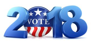 2018 election - 3d rendering. 2018 election text isolated on white - 3d rendering Vector Illustration