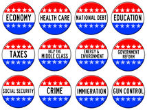 Election topics. Overview of relevant election topics in the USA Royalty Free Stock Photos