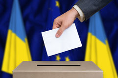 Election in Ukraine - voting at the ballot box Royalty Free Stock Images