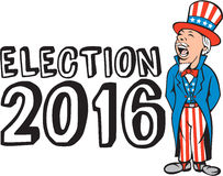 Election 2016 Uncle Sam Shouting Retro. Illustration of Uncle Sam wearing hat and suit with stars and stripes American flag shouting facing to the side viewed Royalty Free Stock Photo