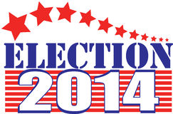 Election 2014. For United States Senate and Congress and other state offices is Tuesday November 4. This graphic urges you to vote with red, white and blue Stock Image