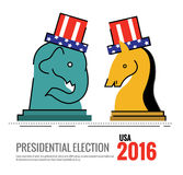Election 2016 USA concept. the elephant and donkey Chess board Stock Image