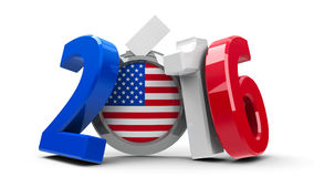Election USA 2016. Figures 2016 in the colors of american flag with badge on white background, represents Presidential Election 2016 in USA, three-dimensional stock illustration