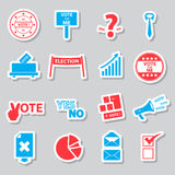 Election and vote color simple stickers set Stock Photography