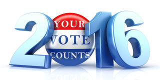 2016 election with vote pin. 3d rendering Stock Images