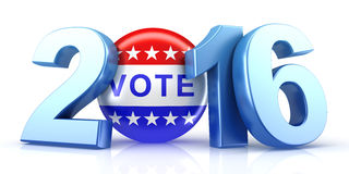 2016 election with vote pin. 3d rendering Royalty Free Stock Photography