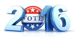2016 election with vote pin. 3d rendering Royalty Free Stock Photo