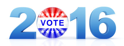 2016 election with vote pin. 3d rendering Royalty Free Stock Photos