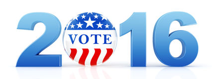 2016 election with vote pin. 3d rendering stock illustration