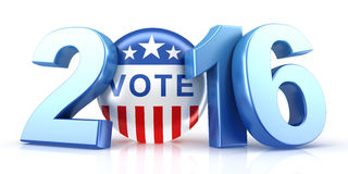 2016 election with vote pin. 3d rendering Royalty Free Stock Images