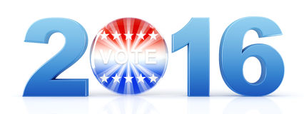 2016 election with vote pin. 3d rendering Royalty Free Stock Image