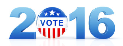 2016 election with vote pin. 3d rendering Stock Photo