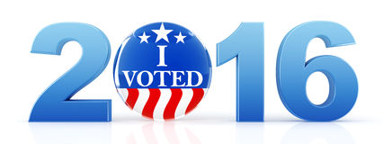 2016 election with vote pin. 3d rendering Stock Image