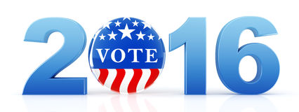 2016 election with vote pin. 3d rendering Stock Photography