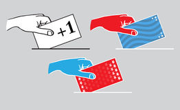 America Election Voters Hand Casting Vote Illustration. Hands in USA colors casting votes royalty free illustration