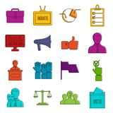 Election voting icons doodle set Stock Photos