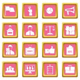 Election voting icons pink. Election voting icons set in pink color isolated vector illustration for web and any design Royalty Free Stock Photos
