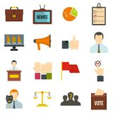 Election voting icons set in flat style Stock Images