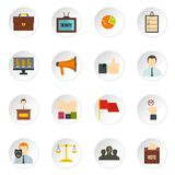 Election voting icons set in flat style Stock Photography