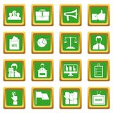 Election voting icons set green Royalty Free Stock Image