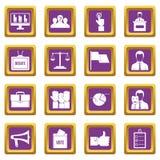 Election voting icons set purple Stock Image