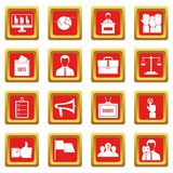 Election voting icons set red Stock Photography