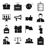 Election voting icons set, simple style Royalty Free Stock Photography