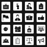 Election voting icons set squares vector Royalty Free Stock Photos