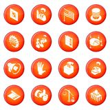 Election voting icons set red vector. Election voting icons set vector red circle isolated on white background Royalty Free Stock Photo