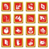 Election voting icons set red square vector. Election voting icons set vector red square isolated on white background Stock Photos