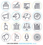 Election and voting line icons set royalty free illustration