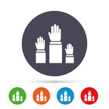 Election or voting sign icon. Hands raised up. Royalty Free Stock Photo