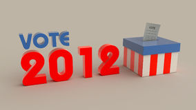 Elections 2012 left. Elections 2012 logo and ballot-box made in us colors Stock Image