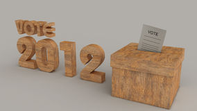 Elections 2012 with paper inside box. Elections 2012 grey background logo and box made from wood with paper inside the box Royalty Free Stock Photos
