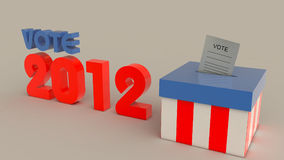 Elections 2012 US Colors. Elections 2012 grey background logo and box in red blue white with paper inside the box Stock Image